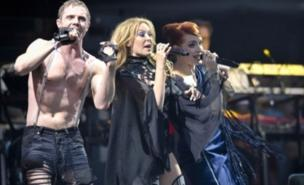 Kylie sang with Scissor Sisters at Glastonbury (PA)