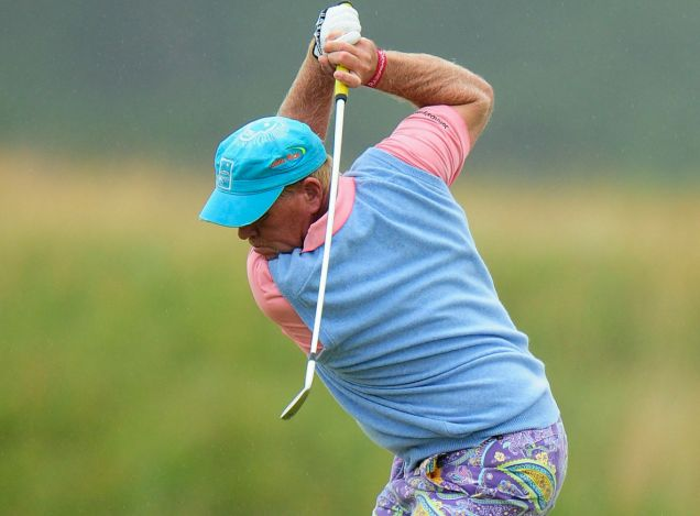 Colourful character: Daly plays his approach on the fifth Picture: Getty