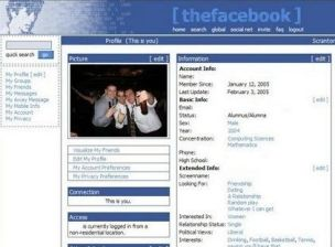Thefacebook's home page on February 12 2004: Old skool, or what?