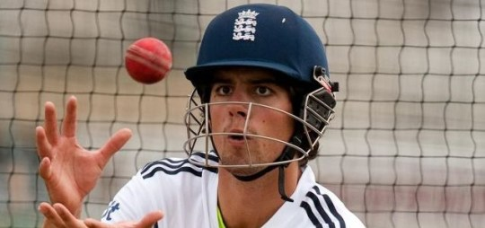 Sights set: Cook gets down to business in the nets yesterday (Picture: PA)
