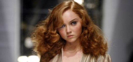 Lily Cole on the runway at London Fashion Week