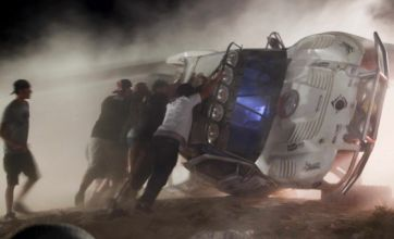 Race truck hits crowd after flying off a race jump, killing eight and injuring 12