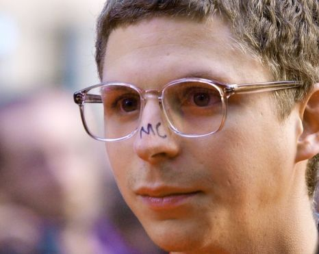 Just in case he forgets who he is Michael Cera writes his initials written on his nose (Photo: Getty Images)