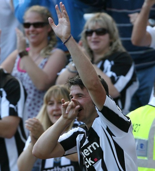 Joey Barton's controversial celebration after Newcastle's opening goal
