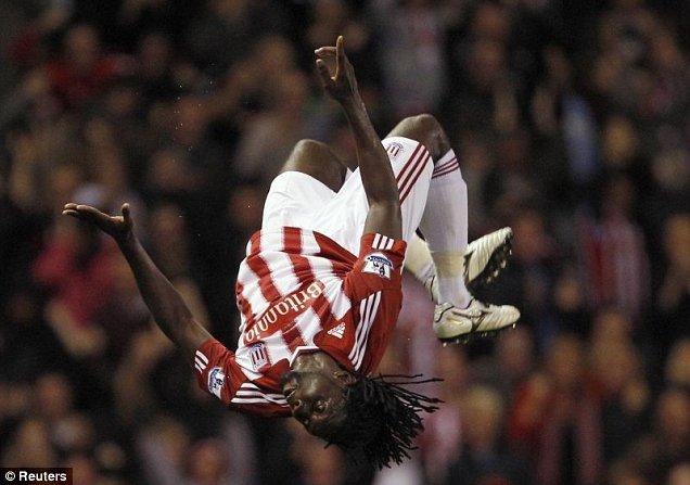 Kenwyne Jones celebrates scoring for Stoke City