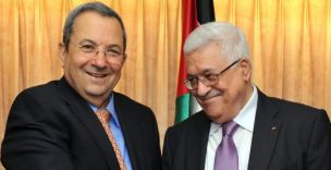 Palestinian President Mahmoud Abbas (right) meets with Israeil Defense Minister Ehud Barak in New York (Picture: EPA)