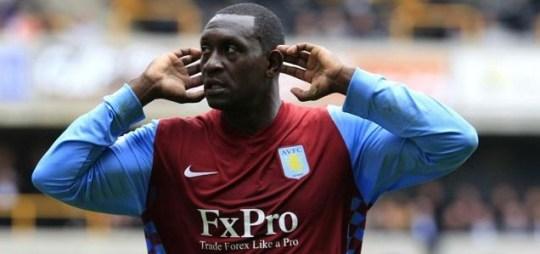 Pardon? Aston Villa's Emile Heskey celebrates his last-minute winner against Wolves