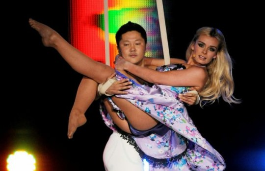 Katherine Jenkins puts on an acrobatic display at the Welcome To Wales concert (Photo: Getty Images)