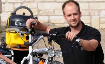 Plumber creates bicycle made for tools to beat Olympic road works