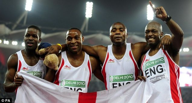 The England men's 4x100m relay team (from left to right): Leon Baptiste, Scott Ryan, Mark Lewis Francis and Marlon Devonish
