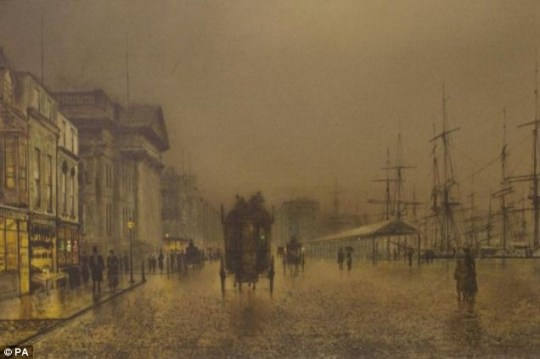 'Delighted': The painting of Salthouse Dock in Liverpool, by John Atkinson Grimshaw, which sold at auction for £185,000 Picture: PA