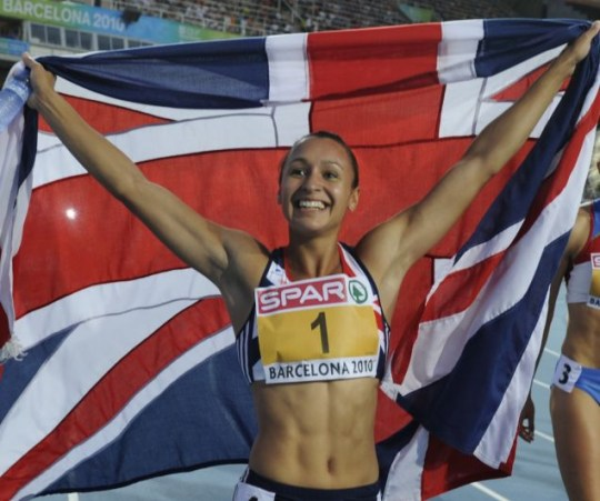 Flying the flag: Great Britain's Jessica Ennis (Getty Images)