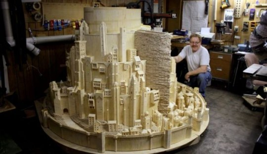 The incredible 420,000 matchstick replica of the city from the Lord of the Rings built by American modeller Patrick Acton