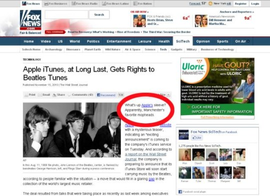 Foxnews.com claimed that The Beatles were from Manchester