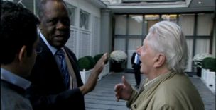 BBC journalist Andrew Jennings confronts Issa Hayatou in the Panorama programme (BBC)