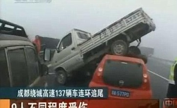 Fog blamed for 137 car pile-up in south-west China