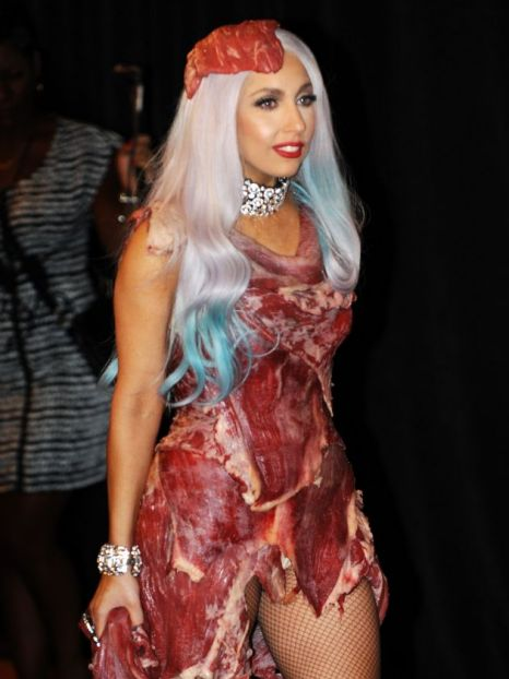 Lady Gaga stepped out in a meat dress (Pic:  AFP: Getty)