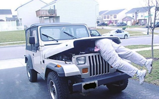 Getting a grilling: Chuck Lamb is eaten by a mutant man-munching off-road vehicle outside his home (Picture: Caters)