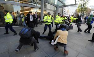 Protesters reached Manchester's main shopping area (PA)