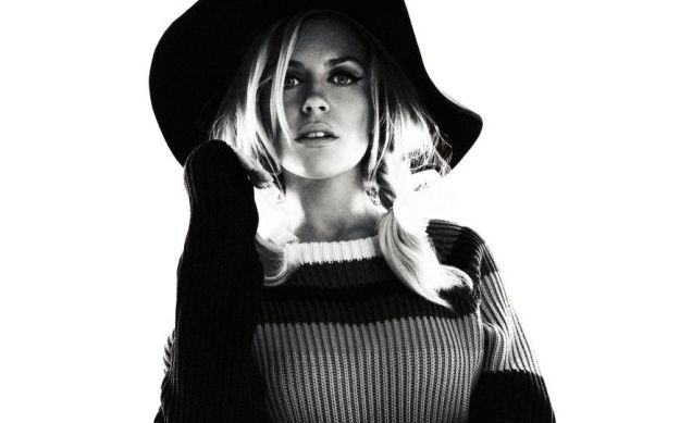 You can leave your hat on: Abbey Clancy poses for Glamour magazine (Picture: Simon Emmett/Glamour)