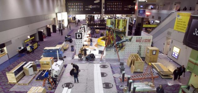 Workers setting up the displays in advance of CES 2011 in the Las Vegas Convention Center (Picture: Reuters)