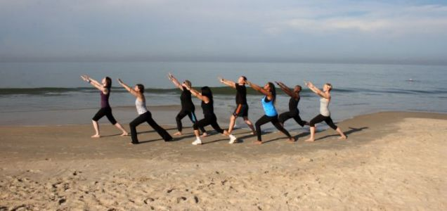 Sand fit: Leigh Mytton (fourth from left) puts her best foot forward at a health retreat in Goa