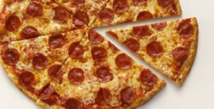 A large thin crust pepperoni pizza: surprisingly good for your health