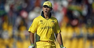 Australian captain Ricky Ponting was visibly annoyed at being run-out against Zimbabwe (AP)