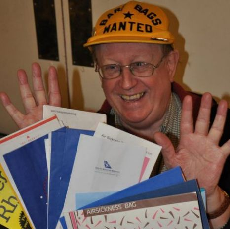 Niek Vermeulen has broken the Guinness world record for collecting the most airline sick bags (Picture: CEN)