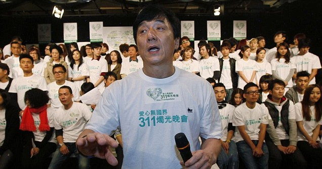 Jackie Chan at a charity event for the victims and survivors of Japan's earthquake and tsunami