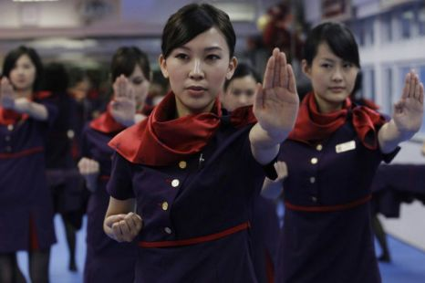 Hong Kong Airline's flight staff learning Kung Fu (Picture: CEN)