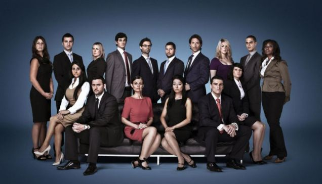 Job hunters: The 16 contestants planning to impress Lord Sugar on series seven of The Apprentice. (Back row l-r) Zoe Beresford, Jim Eastwood, Ellie Reed, Leon Doyle, Tom Pellereau, Edward Hunter, Vincent Disneur, Felicity Jackson, Glenn Ward and Edna Agbarha; (front row l-r) Melody Hossaini, Gavin Winstanley, Helen Milligan, Susan Ma, Alex Britez Cabral and Natasha Scribbins Picture: BBC/PA