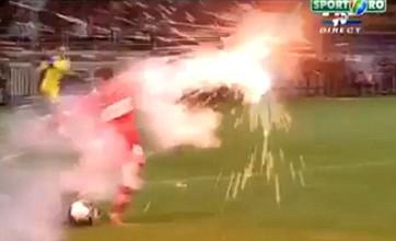 Elis Bakaj dodges flying firecracker during Romanian cup final