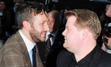 James Corden is less than impressed by Chris O'Dowd's wandering hand