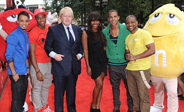 Alexandra Burke and JLS launch M&M'S World in Leicester Square
