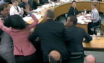 Rupert Murdoch's wife Wendi Deng intercepts 'foam custard pie attack'