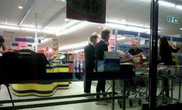 Jedward spotted in Lidl performing Celebrity Big Brother task