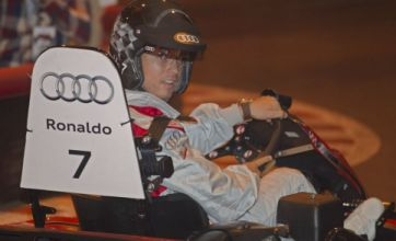 Cristiano Ronaldo looks glum after losing go-kart race to team-mate