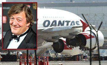 Stephen Fry on board Qantas flight forced to land after engine problems