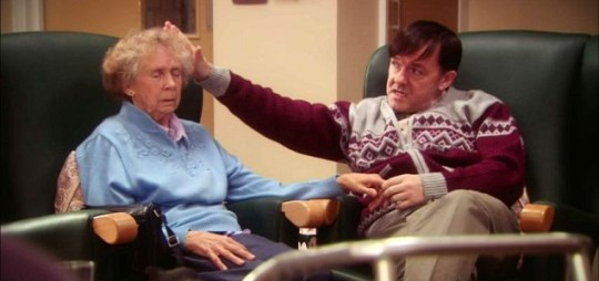 Ricky Gervais at times overdid the gurning in Derek (Picture: Channel 4)