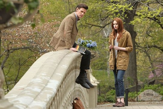 Matt Smith and Karen Gillan films scenes for new Doctor Who episodes in New York (Picture: XposurePhotos.com)