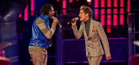 Heshima Thompson and Tyler James during last night's battle phases of The Voice UK (Picture: BBC)