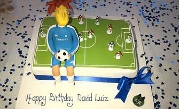David Luiz given Sideshow Bob birthday cake by Chelsea pal Juan Mata