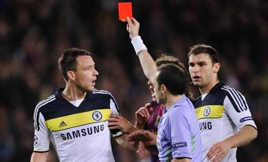 John Terry red card Barcelona v Chelsea Alexis Sanchez