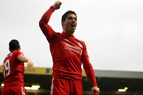 Luis Suarez scored a hat-trick in Liverpool's game against Norwich