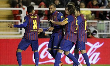 Carles Puyol breaks up Dani Alves and Thiago goal celebration dance