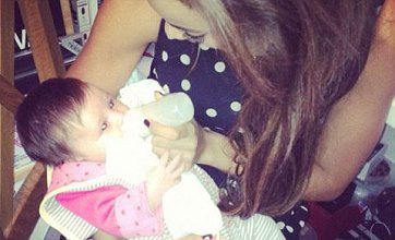 Broody Rochelle Wiseman posts cute snaps of her feeding baby Aoife Belle