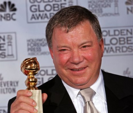 william shatner collects his golden globe