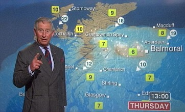 Prince Charles presents the BBC lunchtime weather in Scotland