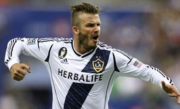 David Beckham bends trademark free-kick with jazzy pink boots